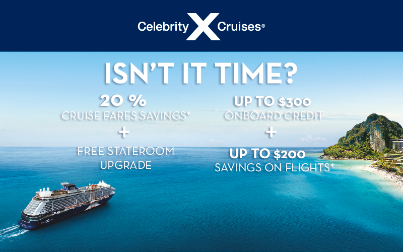 20% Cruise Fares Savings* + FREE Stateroom Upgrade + Up to $300 Onboard Credit