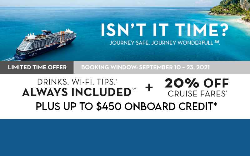 20% Off Cruise Fares* Plus Up to $450 onboard credit*