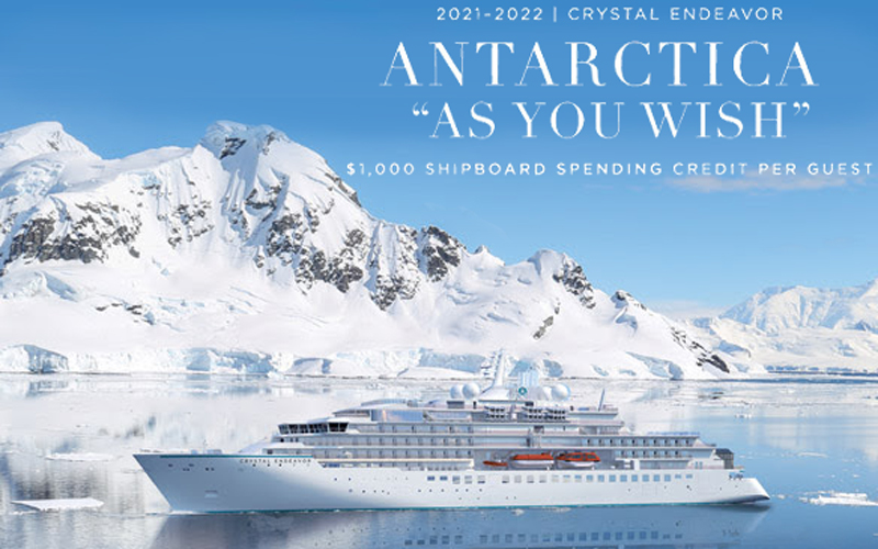 """Antarctica up to $2,000 """"As You Wish"""" Spending Credit with Crystal Expedition Cruises"""