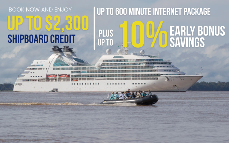 Book now and Enjoy Up to $2,300 Shipboard Credit, Up to 600 Minute Internet Package plus Up to 10% Early Bonus Savings