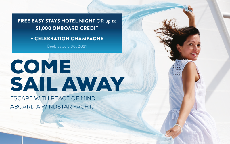 FREE Easy Stays Hotel Night or up to $1,000 onboard credit* + Celebration Champagne