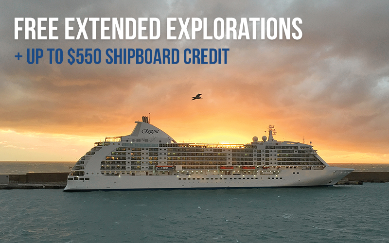 FREE Pre- AND Post-Cruise Land Program, FREE Unlimited Shore Excursions, Up to $550 onboard credit, plus Reduced Deposits*.