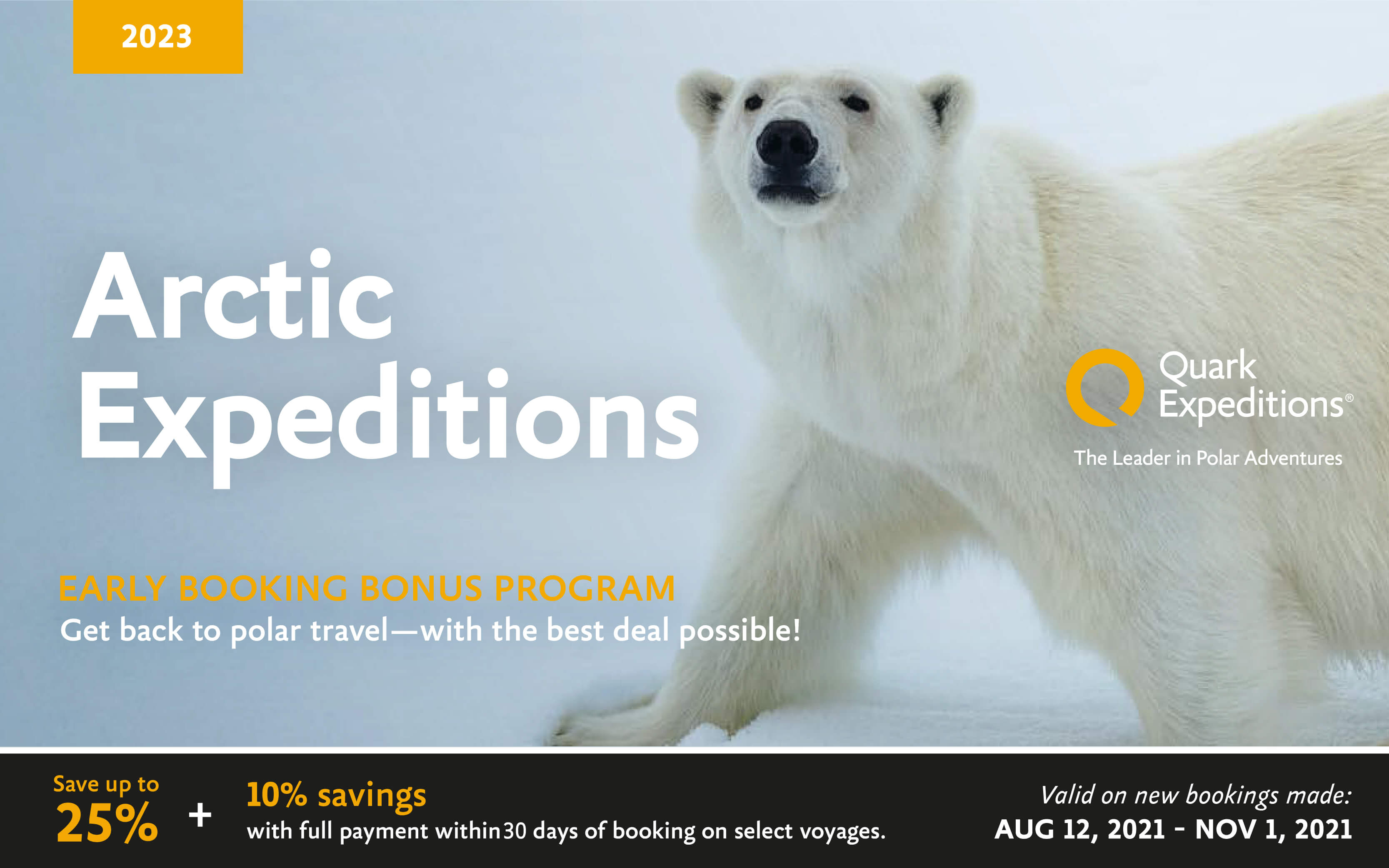 Get back to polar traveling and save up to 35% with Quark Expeditions