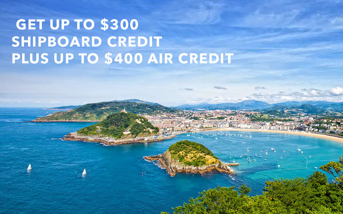 Get Cruise with complimentary pre or post stay and get up to $300 Shipboard Credit plus up to $400 Air Credit per couple