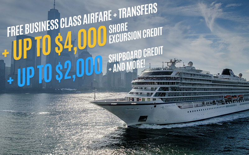 NEW! Viking World Cruise - Free Business Class Airfare + Up to $4,000 Shore Excursion Credit + Up to $2,000 shipboard credit + and More!