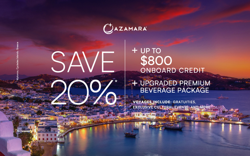 Sail this fall with 20% + up to $800 Onboard credit + upgraded premium beverage package