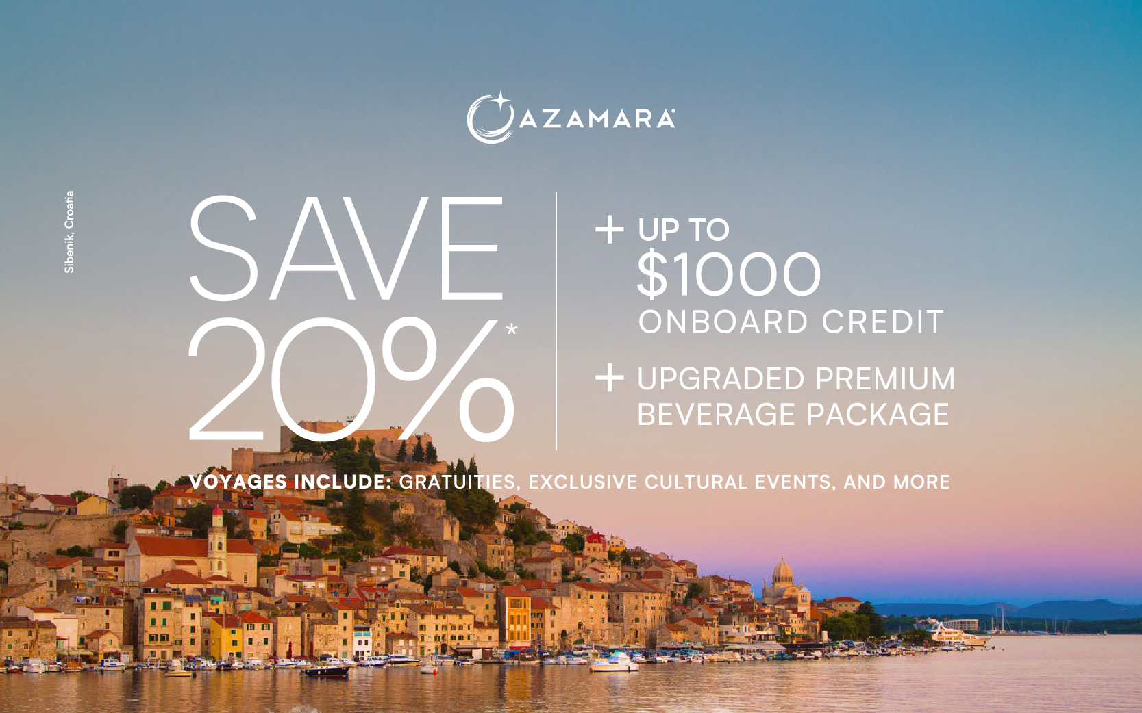 Sail with Azamara and save 20% off, plus up to $1,000 On Board Credit, plus upgraded Premium Beverage Package, and more!