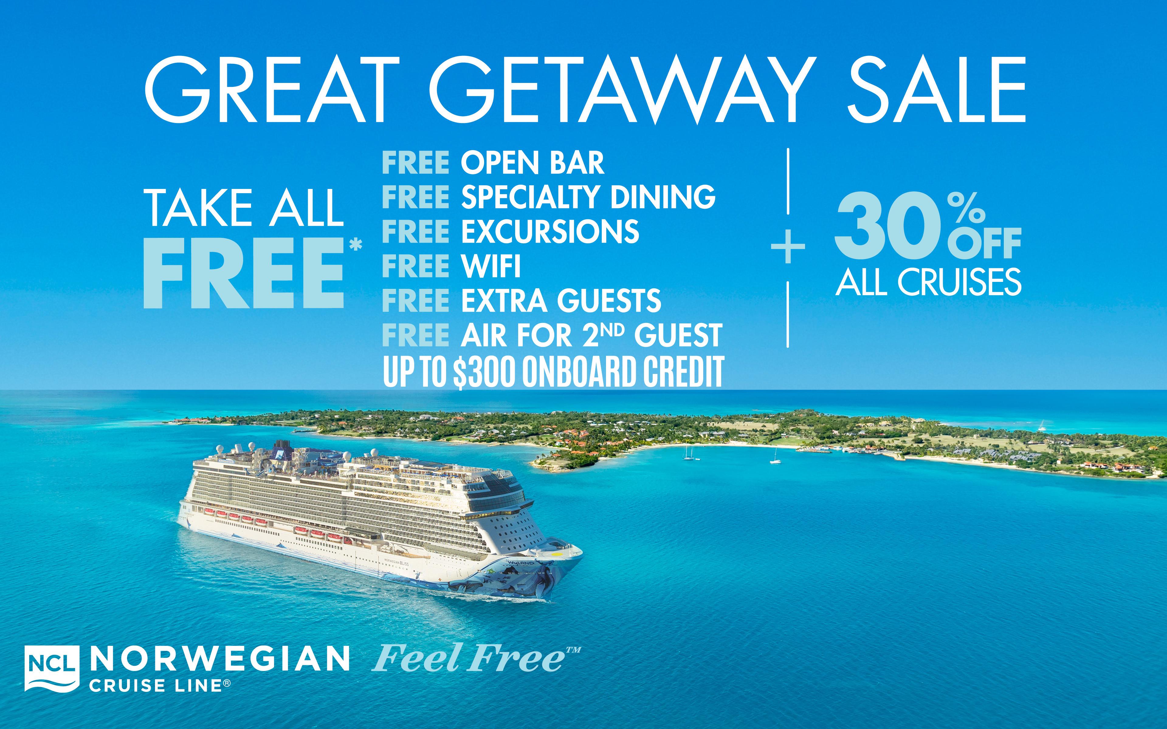 Take ALL FREE + 30% Off All Cruise Fare