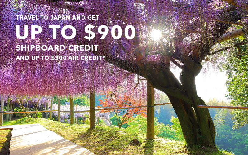 Travel to Japan and Get up to $900 Shipboard Credit and up to $300 Air Credit* Only when you book on Celebrity's Retreat