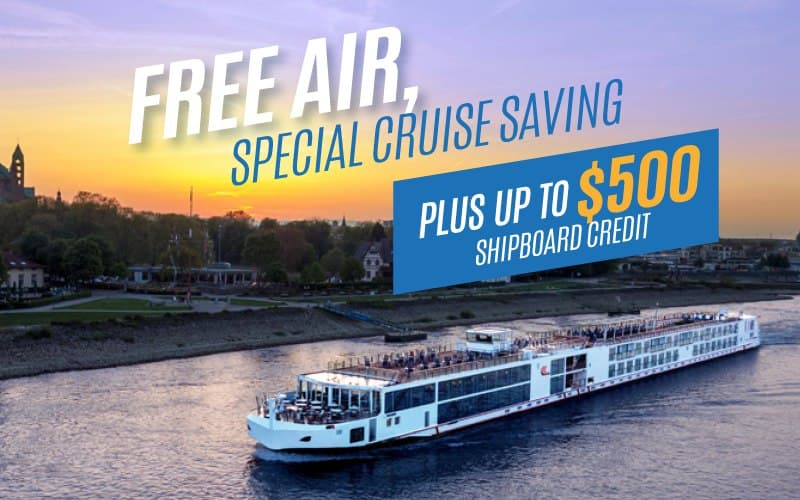 Up to FREE Internation Air on select 2022 river cruises, special cruise savings, plus up to $500 Shipboard Credit.