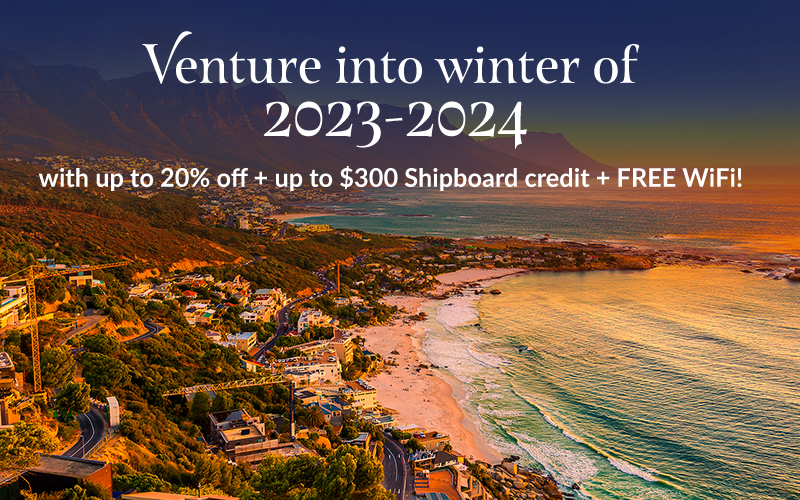 Venture into winter of 2023-2024 with up to 20% off + up to $300 Shipboard credit + FREE WiFi!