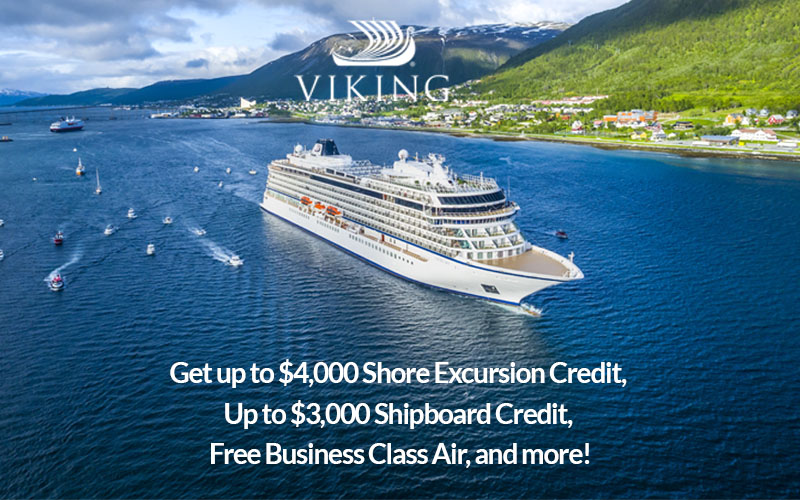 Viking World Cruise - Get up to $4,000 Shore Excursion Credit, Up to $3,000 Shipboard Credit, Free Business Class Air, and more!
