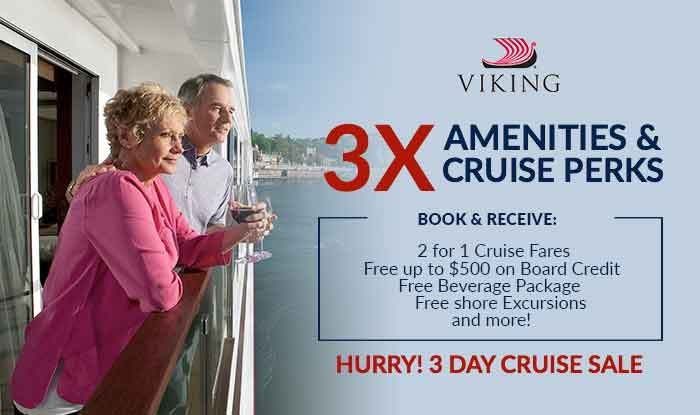 3 Day Viking Cruise Sale - Free Beverages + Up to $500