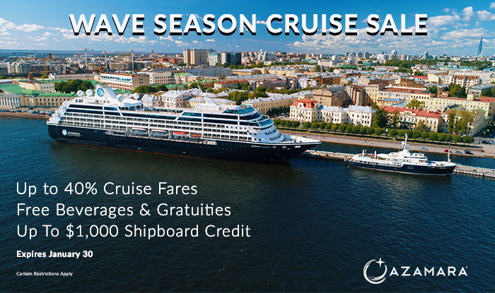 Azamara Wave Season Sale! Up to 40% Off Cruise Fares + Beverages & Gratuities