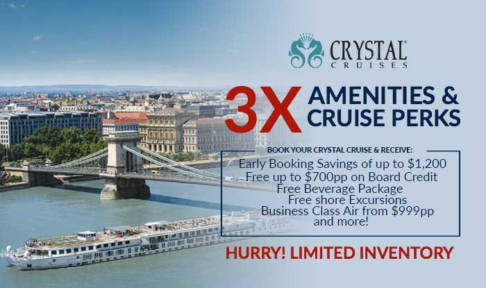Crystal Cruise Sale! 3X Luxury Cruise Perks on all Voyages