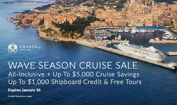 Crystal Cruises Wave Season Sale! Up to $5,000 Stateroom Savings + Up to $1,000 In Bonus Perks