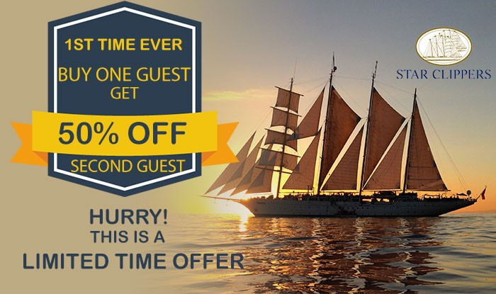 First Time Ever Buy One Guest get 50% off on Star Clipper sailings!