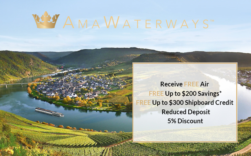 Get FREE Air + Up to $300 Shipboard Credit + Up to $200 Savings + Reduced Deposit + 5% Discount with Amawaterways