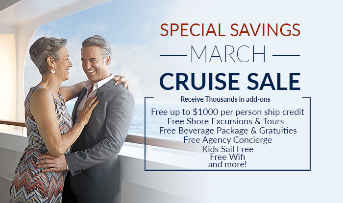 March Cruise Sale- Massive Savings on all Cruises
