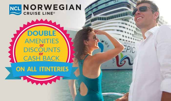 Norwegian Cruise Sale: Double Cruise Amenities or Discounts or Cashback