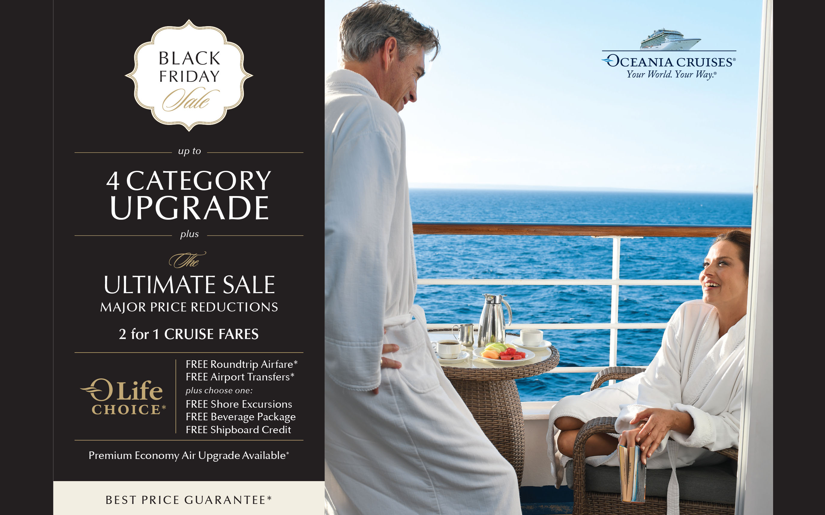 Oceania Cruises - Black Friday Sale - Up to 4 Category Upgrade