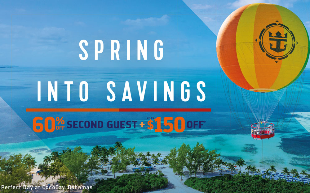 Royal Caribbean save up to $150 in a snap, plus 60% off your second guest.