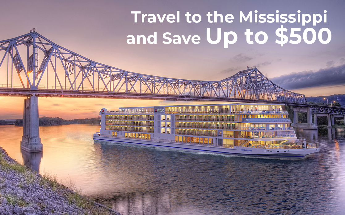 Take advantage and Travel to the Mississippi, very little availability and Save Up to $500 plus Air from $399 and $150 onboard credit per person