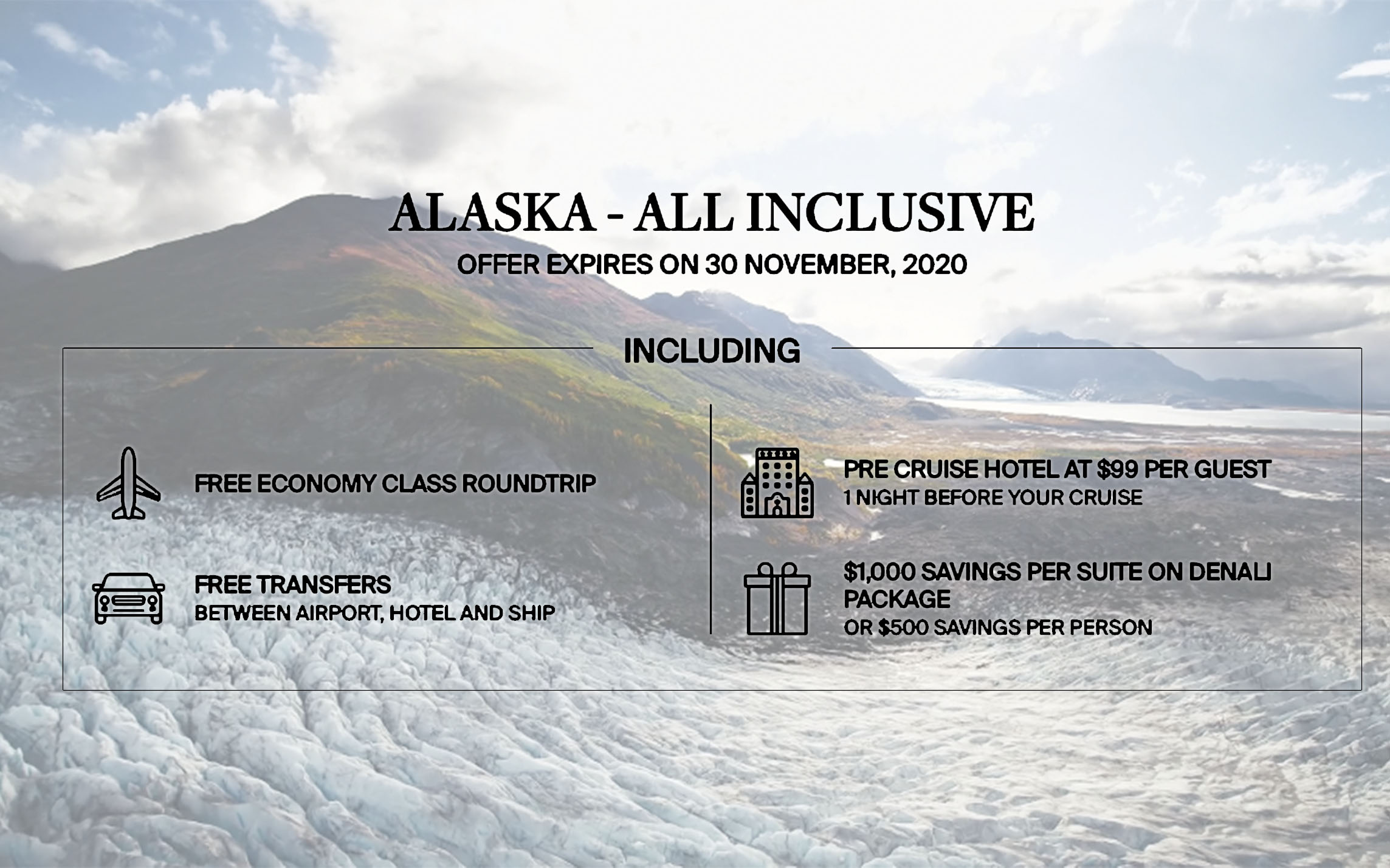 Travel to Alaska with Silversea - Get Free Economy Class Roundtrip + Free Cruise Hotel + Free Transfers + Up to $1,000 Savings